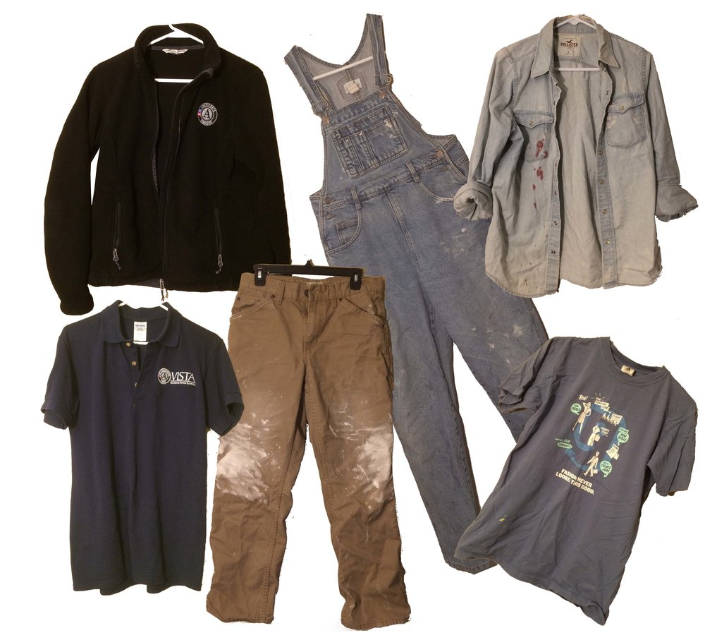 Technical Wear - I am only in technical wear when I know I will either be doing home repair, painting or a craft that I know will get messy. Also included are work uniforms, and work related t shirts that I know I won't keep forever.