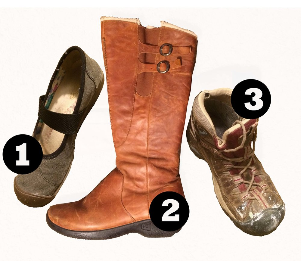 Shoes - All three pairs of my shoes are Keen. When you find a brand that works for you, stick with it!In the summer I will swap my tall boots for business casual sandals.