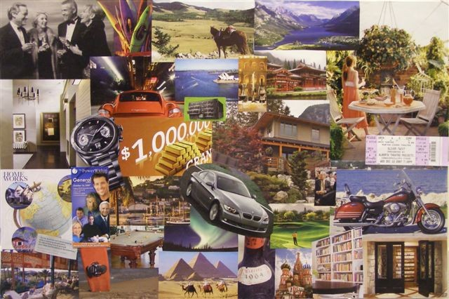 "An example of a ""vision board"" as depicted in the movie ""The Secret – The Law of Attraction"". The movie claims that the protagonist managed to own everything on his board by simply looking and visualising the items."