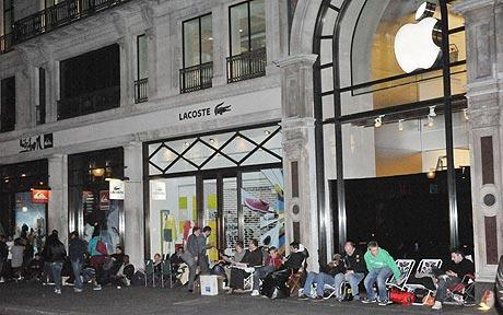 Imaged source: Telegraph.uk: People queuing overnight to get their hands on the latest Apple products.