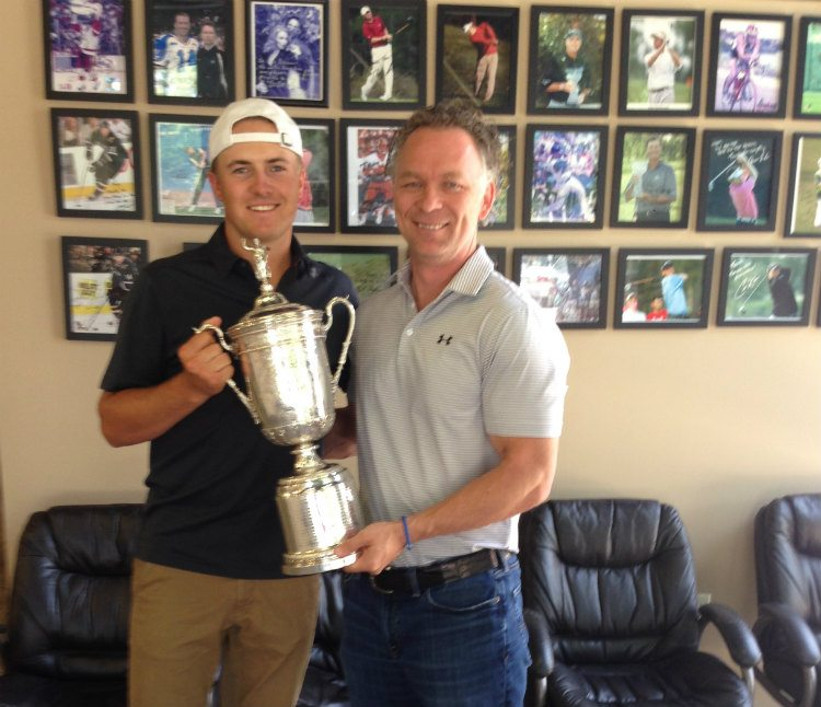 Jordan Alexander Spieth, professional golfer on the PGA Tour, and former world number one in the Official World Golf Ranking. Jordan celebrating and thanking his chiropractor for winning the tournament. Interestingly, Tiger Woods receives chiropractic care as well.