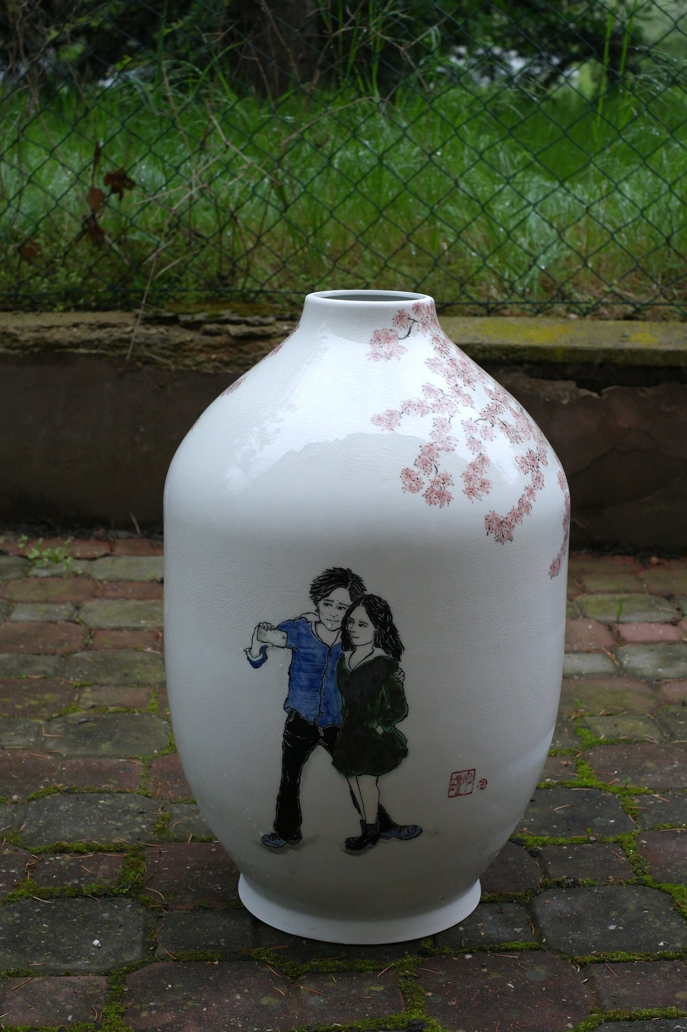 Extra Large vase with Cherry Blossom