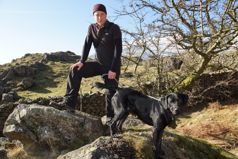 Indulging a passion for nature with his dog, Soy, in the Lake District.