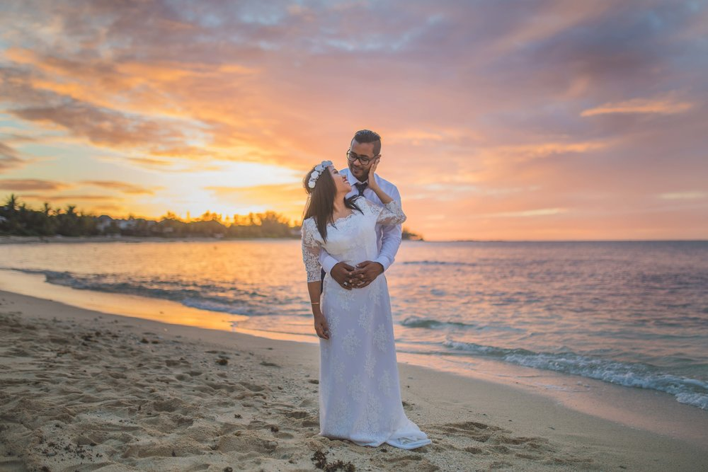 Couple Posing with Colourful sky and Sunset in Mauritius