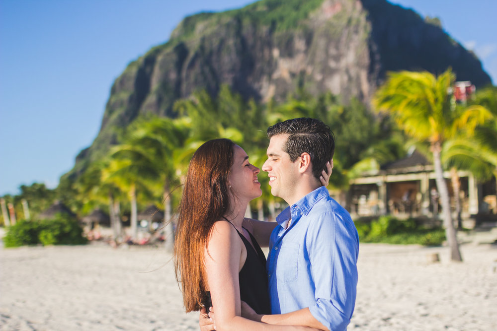 Couple in front of Le Morne Mountain in Mauritius