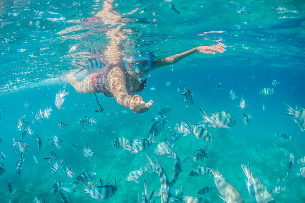 Snorkeling in Mauritian waters. Photo by Irwin Nursoo