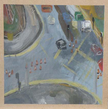 Traffic Light Junction - Acrylic on Board (21.08cm Square).JPG