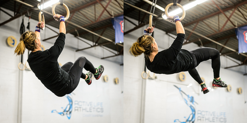 """Left side """"closed hip"""" before opening her hip and firing up on the right side. That explosive hip drive transfers over to all sorts of other movements likehigher box jumps, better pull-ups, and more weight moved on cleans and snatches."""