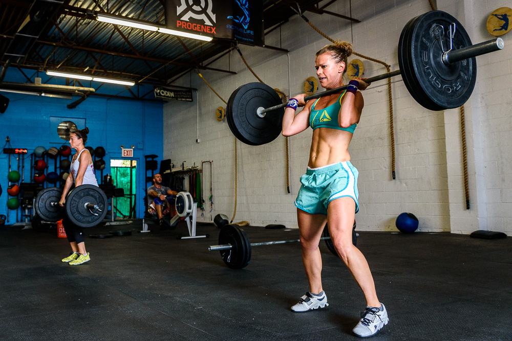Alicia and Jenn during today's WOD!
