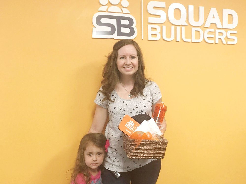 This month's giveaway winner, Lindsay Garcia, with her daughter.