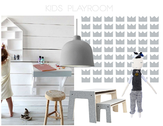 We are wild about these pieces for a kids playroom.  Featuring our KINGDOM kids wallpaper in metallic silver.  SISSY+MARLEY FOR JILL MALEK WALLPAPER / JESS BROWN DOLL / PRELUDE OSKAR TABEL & BENCH