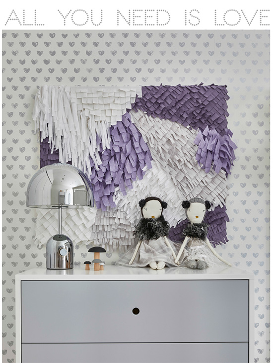 We had so much fun creating this Uber chic twin girls room for our little clients Yasemin + Dilara.  Featuring our LOVE wallpaper in silver metallic. SISSY+MARLEY for Jill Malek / CUSTOM ART  /  PHOTOGRAPHY Marco Ricca