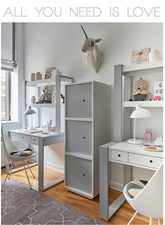 These girls are ready to work!   If you ask Yasemin+ Dilara what their favorite thing in the new room is they will tell you it's their desks. We have to agree, we wouldn't mind doing hours of homework if our desks looked this good.    PHOTORGAPHY Marco Ricca   /   DESKS+STORAGE