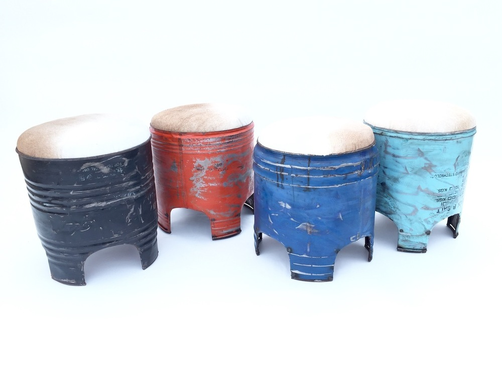 COW HIDE PAINT DRUM STOOLS