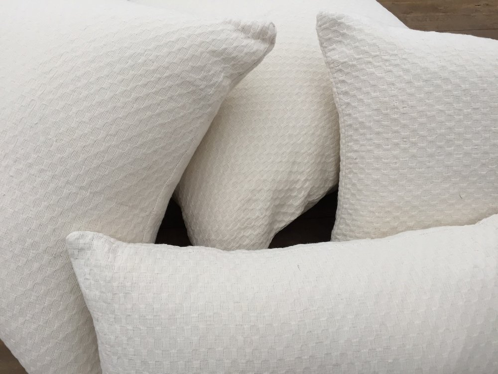 Textured White Pillows