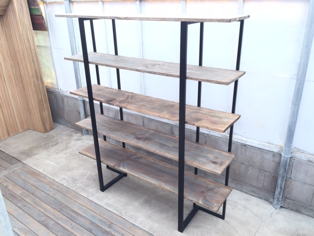 Weathered Bookcase w Metallic Shelf