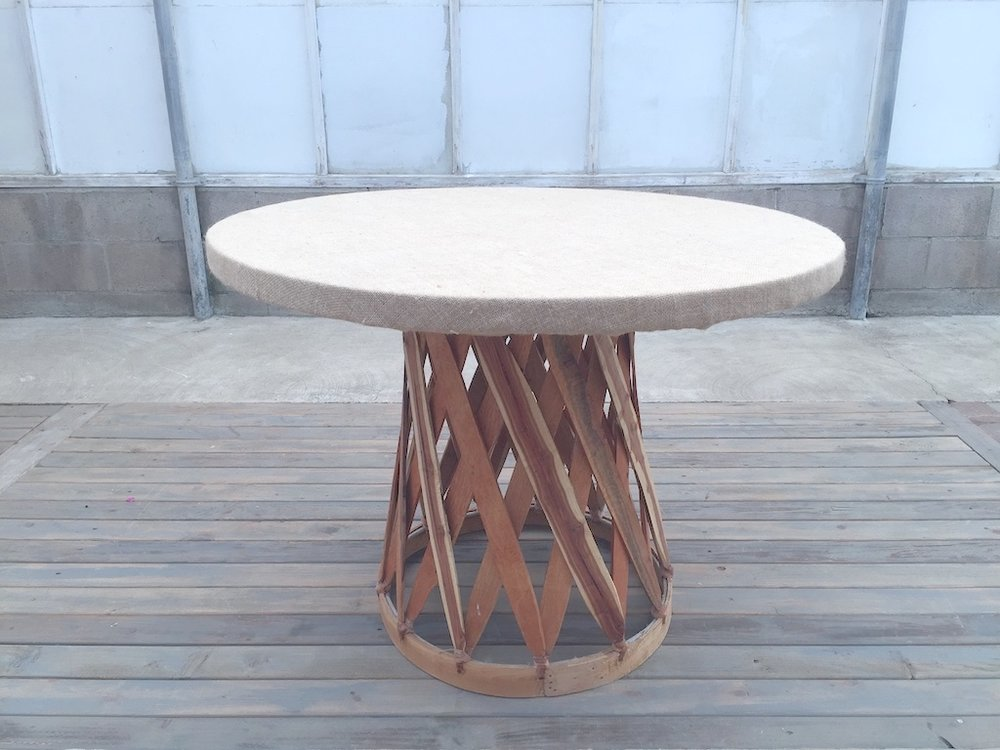 Equipales Round Table w Burlap