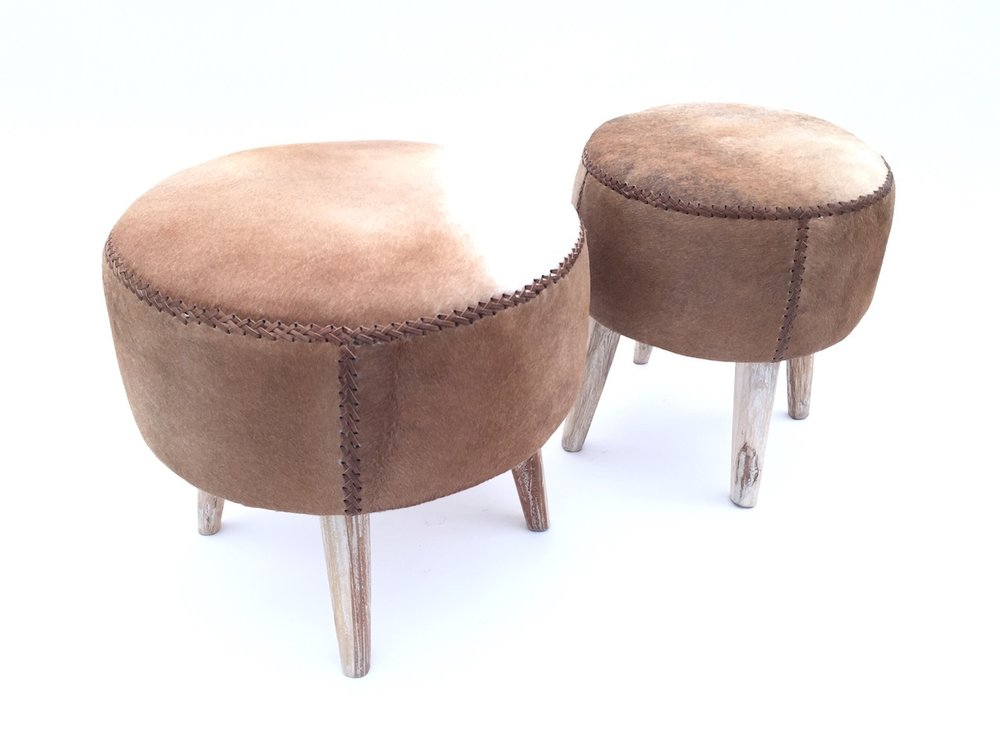 Round Cow Hide Stool
