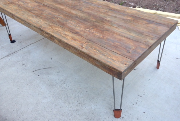Weathered Dining Table (Hairpin Legs & Leather Shoes)