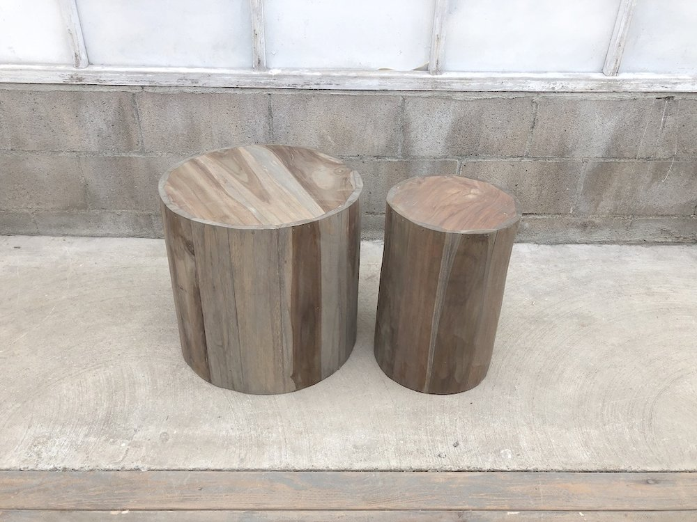Weathered Round Side Tables