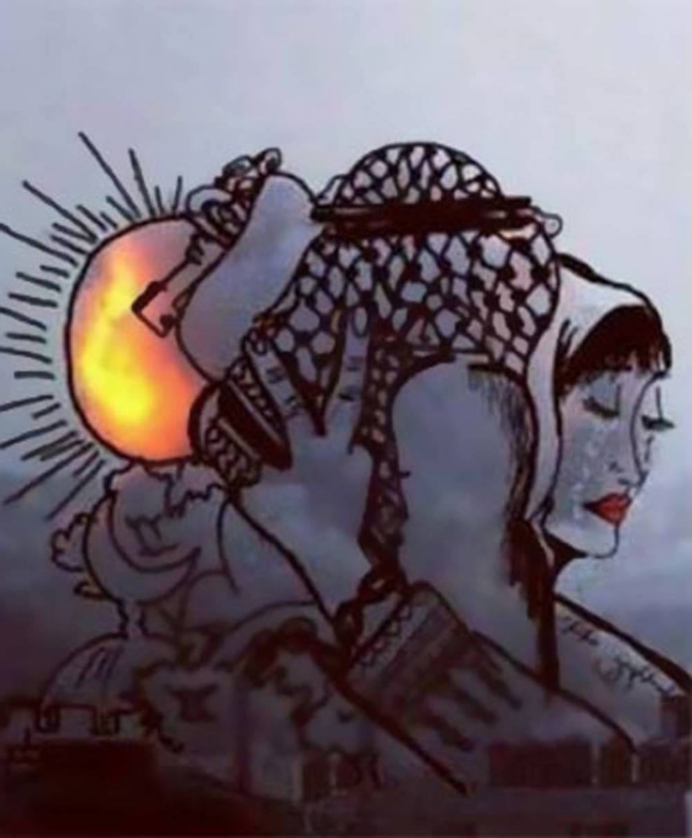 Sig of peace, the Palestinian traditional scarf, the Islamic crescent, a face of hope and sadness, Love, the key to return home and the sun to show a new day.