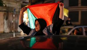 Strong Palestinian woman holding Flag