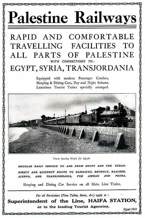1922 poster showing Palestine Railways
