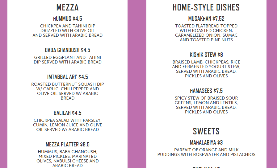 Sample menu from Palestinian pop up.