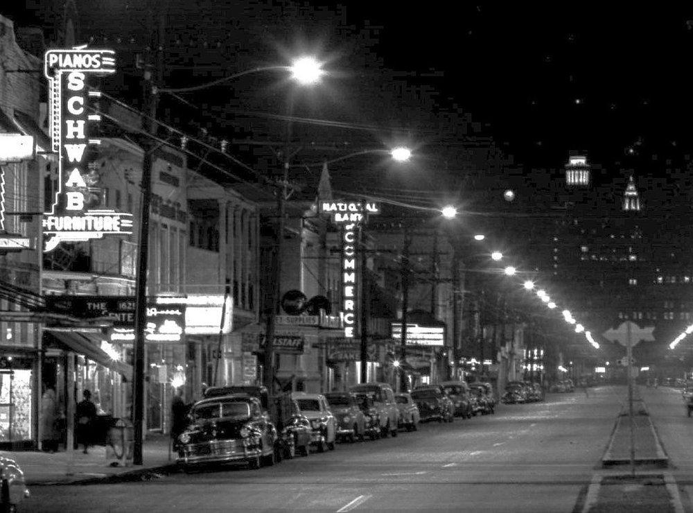 1600 block at night 1940's.jpg