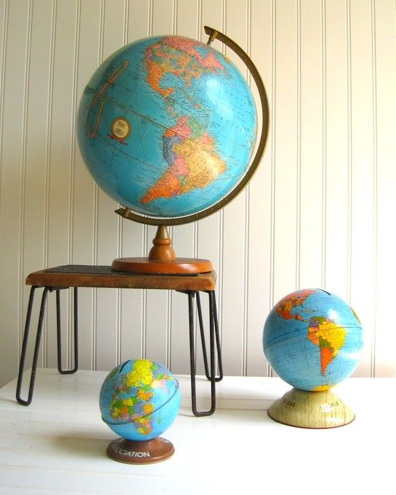 Vintage globes from thrift / second hand shops that add a nice touch and spark curiosity!