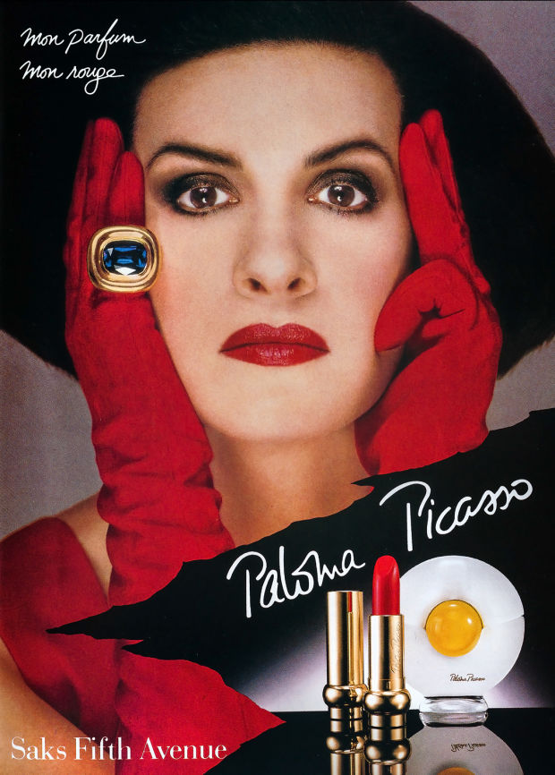 Paloma Picasso ad, perfume and lipstick | Photo Richard Avedon 1984