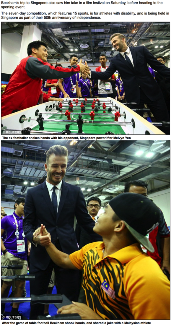 David Beckham visit, 8th ASEAN Para Games, The Daily Mail (www.dailymail.co.uk)