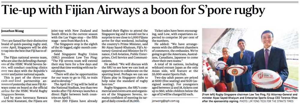 Rugby Singapore-Fiji Airways sponsorship deal signing for The Straits Times (www.straitstimes.com)