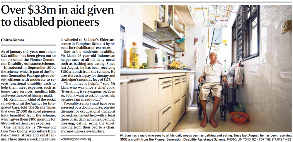 Pioneer Generation Disability Assistance Scheme feature for The Straits Times (www.straitstimes.com)