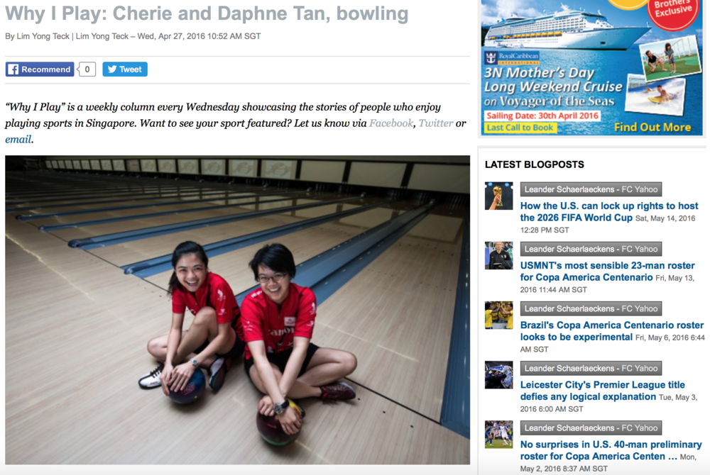 Cherie & Daphne Tan bowling feature for Yahoo! (www.yahoo.com)