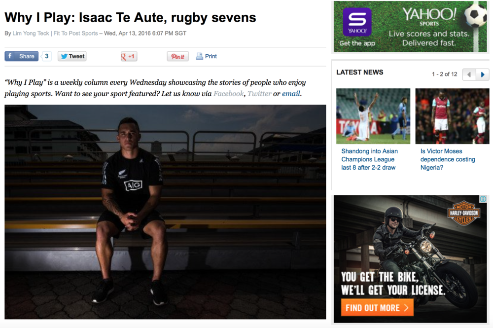 Isaac Te Aute feature for Yahoo! (www.yahoo.com)