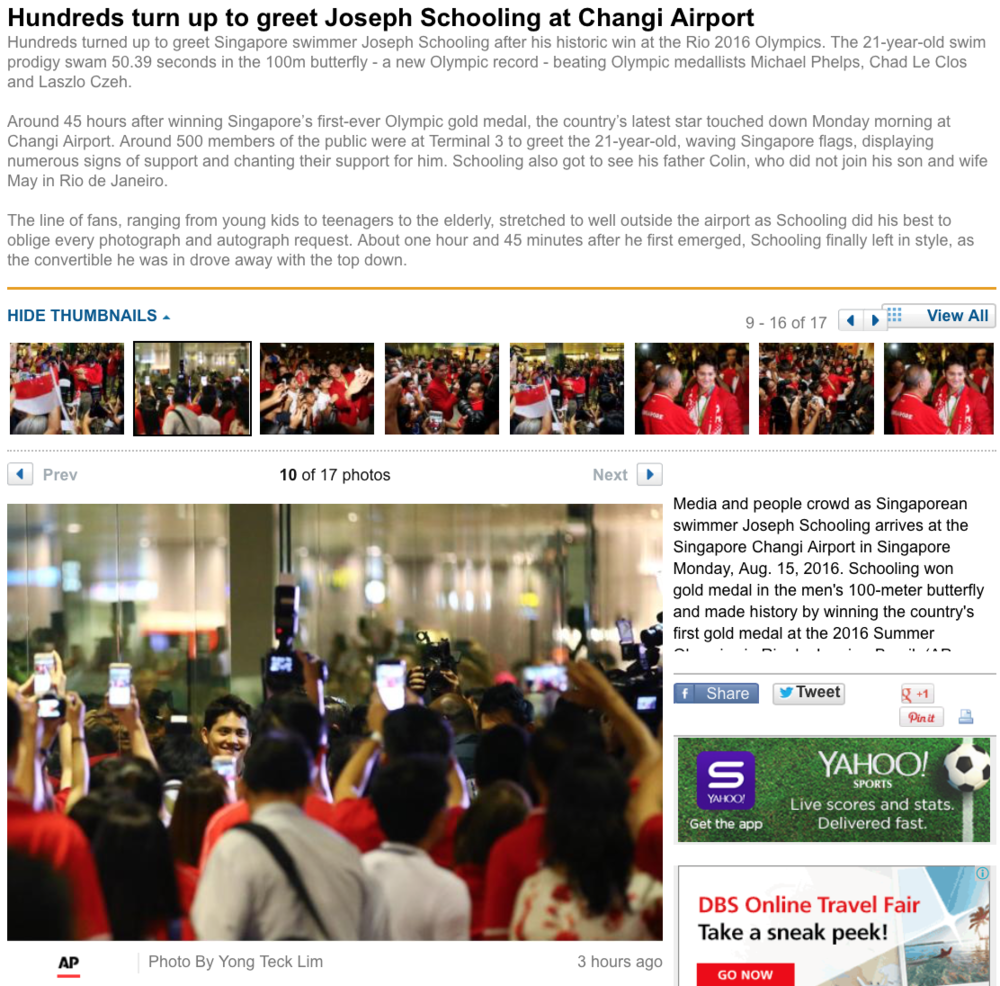 Joseph Schooling's Singapore return for the Associated Press (www.apimages.com)