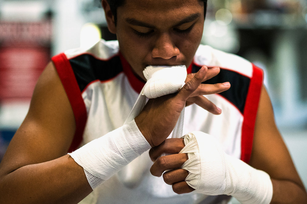 George Rico prepares for his workout at La Habra Boxing Club on November 6, 2015 in La Habra, California.