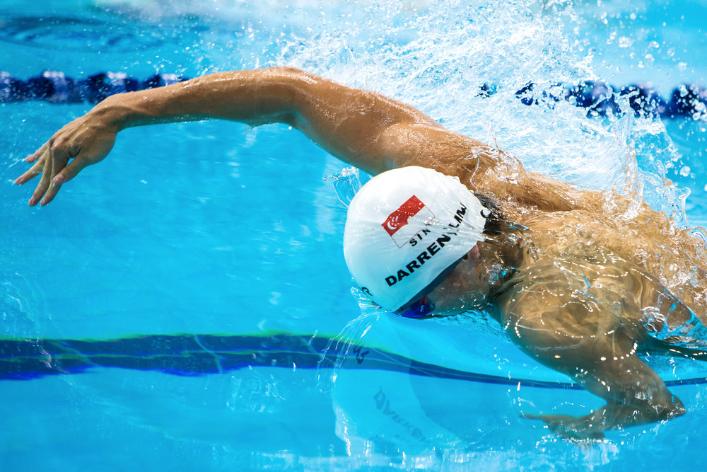 Darren Lim of Singapore swims during the men's 50m freestyle heats on day three of the 5th FINA World Junior Swimming Championships at the OCBC Aquatic Centre on August 27, 2015 in Singapore.
