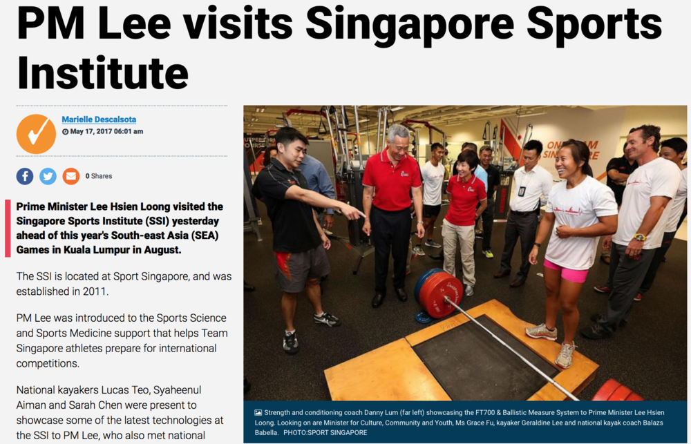 Singapore Primer Minister visit to Singapore Sports Institute for Reuters for Sport Singapore