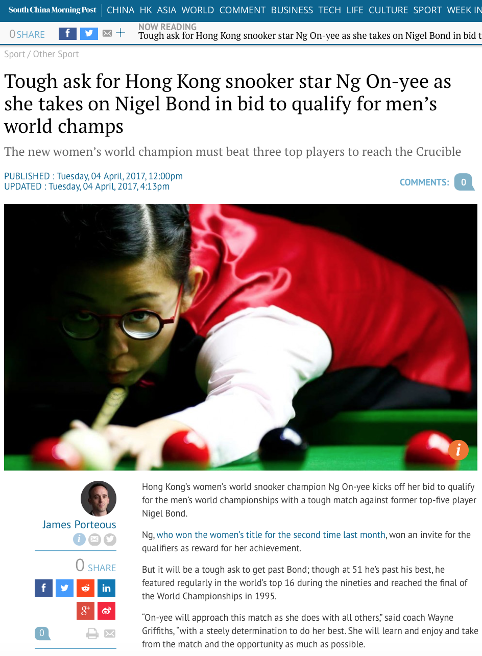 Singapore Women's Snooker Open for Reuters (pictures.reuters.com)