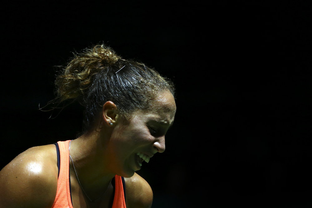 Tennis - BNP Paribas WTA Finals - Singapore Indoor Stadium - 27/10/16 USA's Madison Keys reacts during her round robin match Mandatory Credit: Action Images / Yong Teck Lim Livepic EDITORIAL USE ONLY.