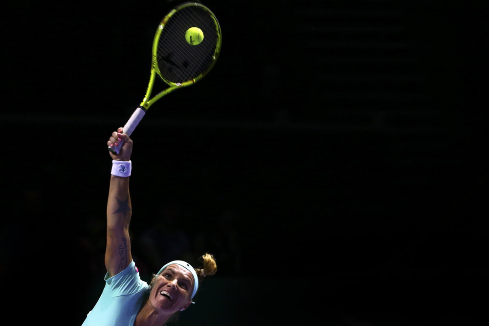 Tennis - BNP Paribas WTA Finals - Singapore Indoor Stadium - 29/10/16 Russia's Svetlana Kuznetsova in action during her semifinal match Mandatory Credit: Action Images / Yong Teck Lim Livepic EDITORIAL USE ONLY.