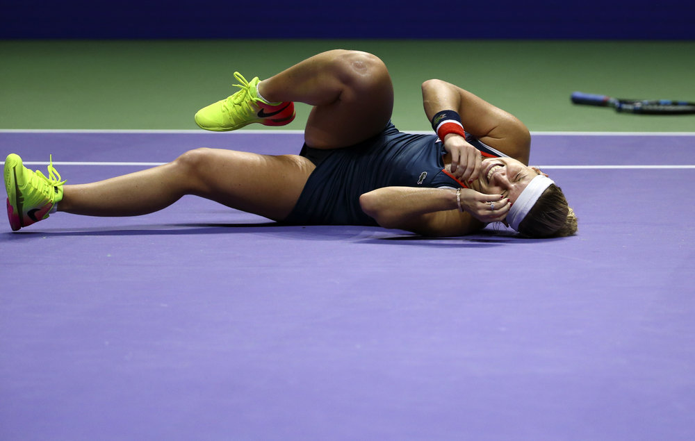 Tennis - BNP Paribas WTA Finals - Singapore Indoor Stadium - 29/10/16 Slovakia's Dominika Cibulkova celebrates during her semifinal match Mandatory Credit: Action Images / Yong Teck Lim Livepic EDITORIAL USE ONLY.