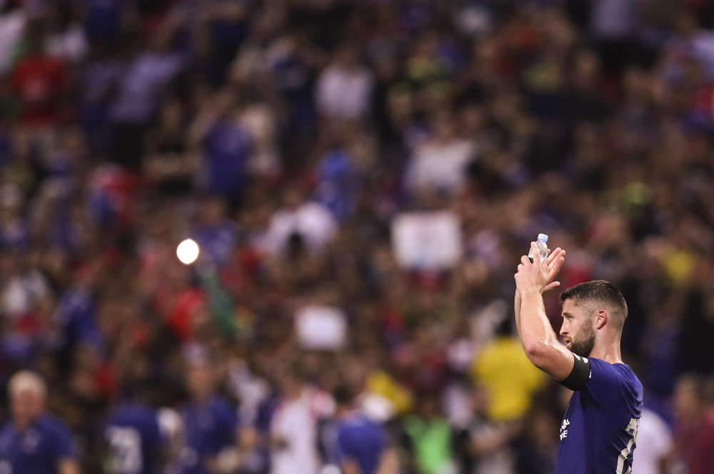 Soccer Football - Chelsea vs Bayern Munich - International Champions Cup - Singapore - July 25, 2017 Chelsea's Gary Cahill applauds fans after the match REUTERS/Yong Teck Lim