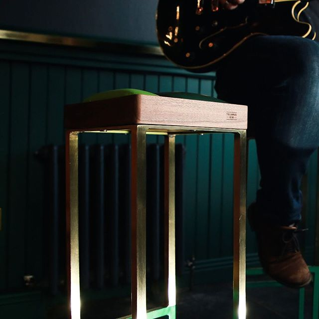 We love these musician high stools. . . #stool #furniture #design #music #brass #walnut #leather