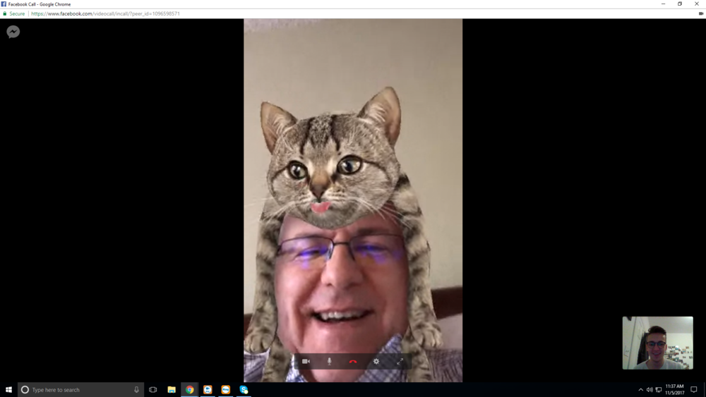 My DAD with a cat on his head - Hundreds are amazed