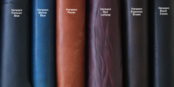 Horween leather selections currently available for Bliss books