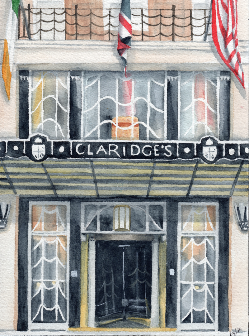 Claridge's London watercolor painting