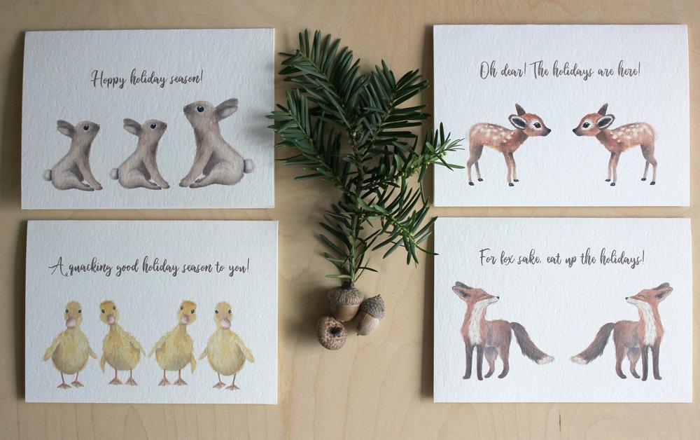 WOODLAND ANIMAL HOLIDAY CARD SET